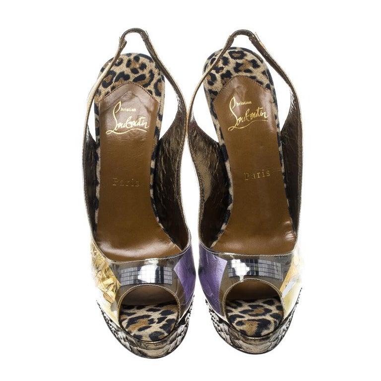 Brown Christian Louboutin Khaki PVC Eco Trash Peep Toe Platform Slingback Sandals Size For Sale