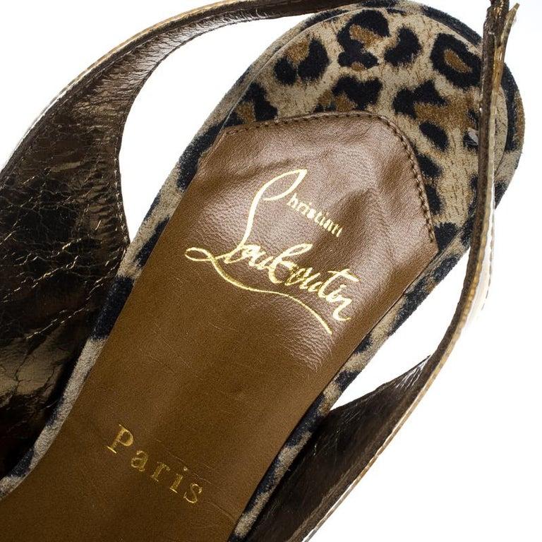 Christian Louboutin Khaki PVC Eco Trash Peep Toe Platform Slingback Sandals Size For Sale 2