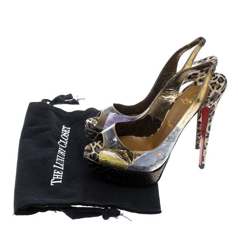 Christian Louboutin Khaki PVC Eco Trash Peep Toe Platform Slingback Sandals Size For Sale 3