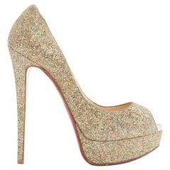 CHRISTIAN LOUBOUTIN Lady Peep 150 gold glitter peep toe platform heels EU36 US6