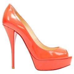 CHRISTIAN LOUBOUTIN Lady Peep 150 neon pink patent peep toe platform pump EU37.5
