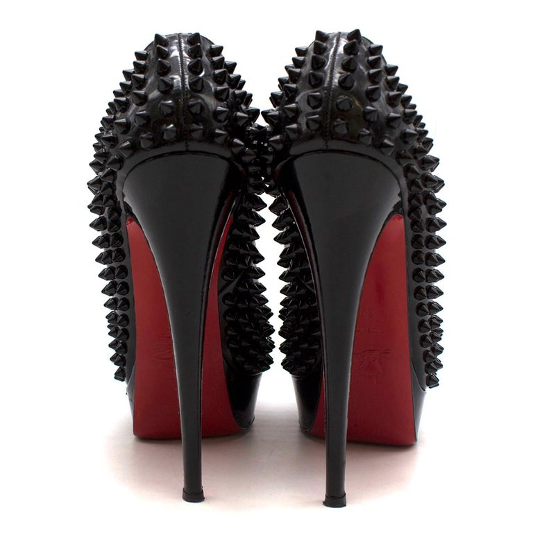 Black Christian Louboutin Lady Peep Spikes 145mm leather pumps US 8.5 For Sale