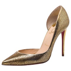 Christian Louboutin Laser Cut Leather Glitter Galu D'orsay Pointed Toe Pumps 37