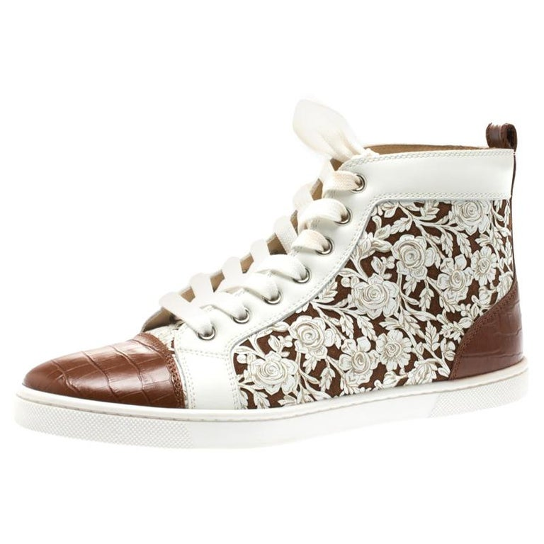 low priced 12409 24487 Christian Louboutin Laser Leather Brown Croc Embossed Leather Sneakers Size  36