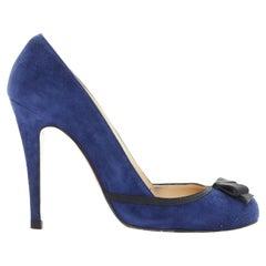 CHRISTIAN LOUBOUTIN Lavalliere 100 blue suede bow detail round toe pump EU36.5