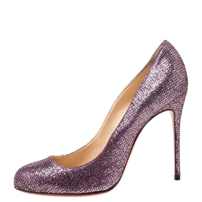 Women's Christian Louboutin Lavender Glitter Mini Simple 85 Pumps Size 38 For Sale