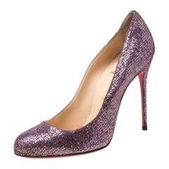 Christian Louboutin Lavender Glitter Mini Simple 85 Pumps Size 38