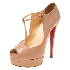 Christian Louboutin Leather Alta Poppins T Strap Peep Toe Platfrom Pumps Size 38