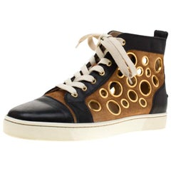 Christian Louboutin Leather And Brown Suede Mika On Stage High Top Sneakers 40.5