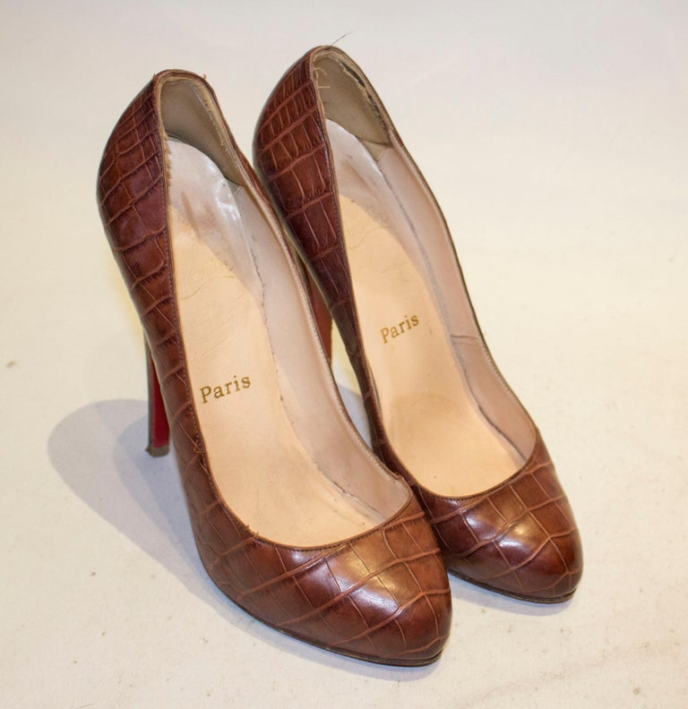 Christian Louboutin Leather Croc Effect Shoes In Good Condition For Sale In London, GB
