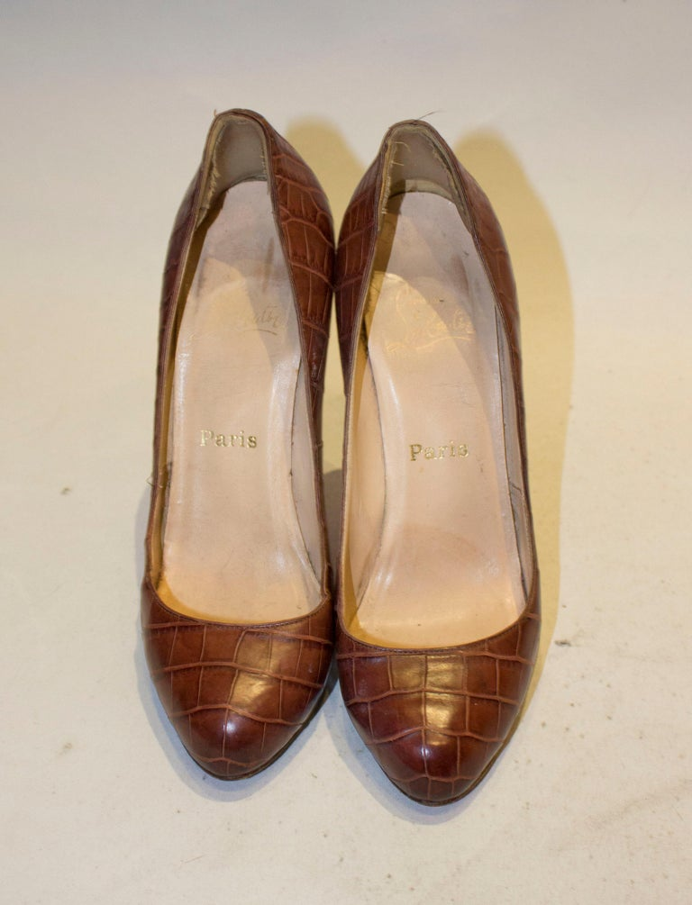 Women's Christian Louboutin Leather Croc Effect Shoes For Sale