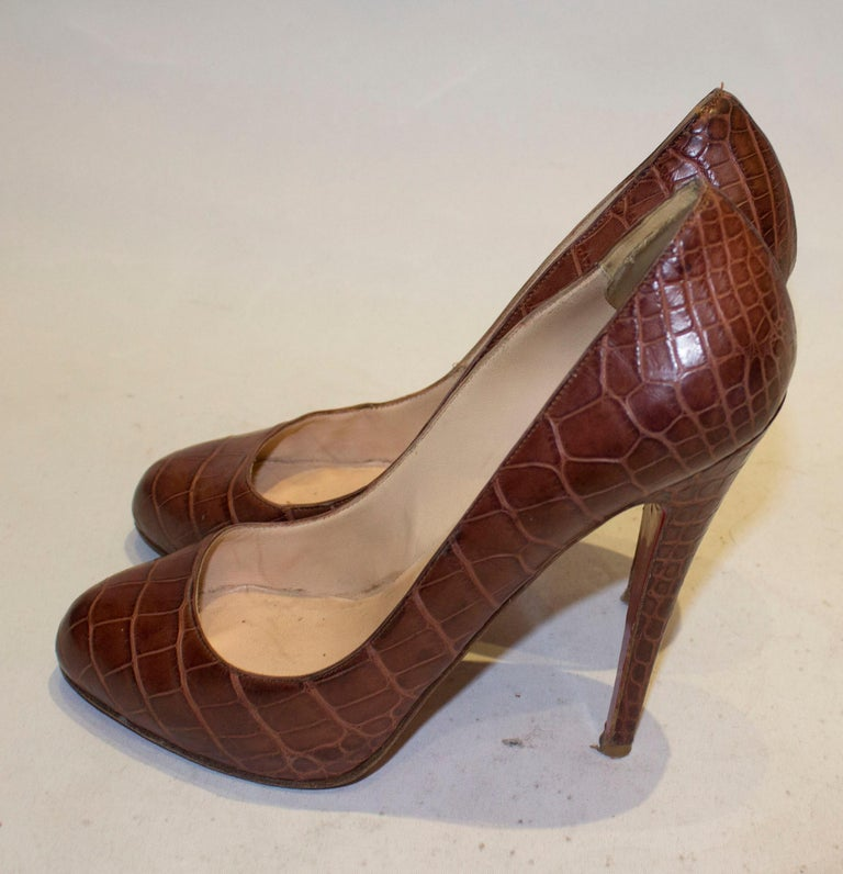 Christian Louboutin Leather Croc Effect Shoes For Sale 1