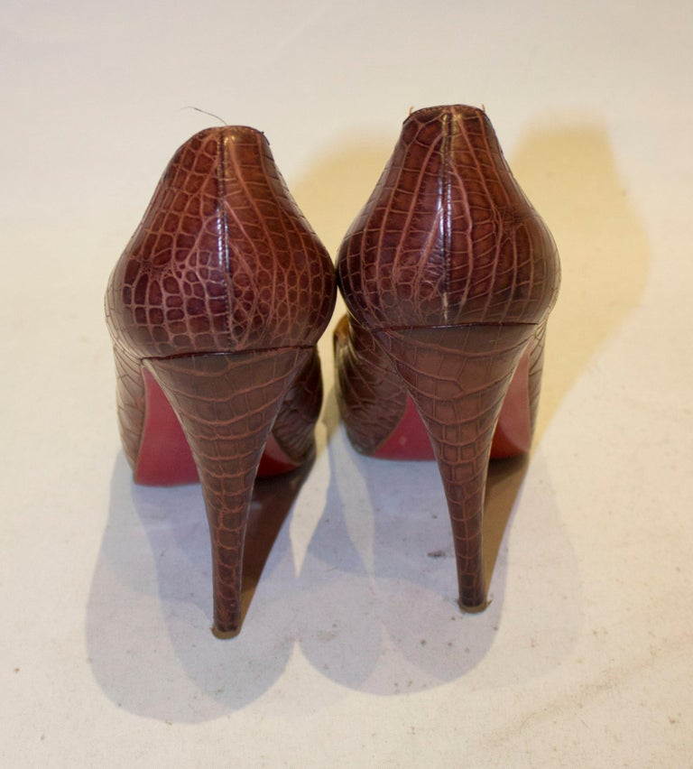 Christian Louboutin Leather Croc Effect Shoes For Sale 2