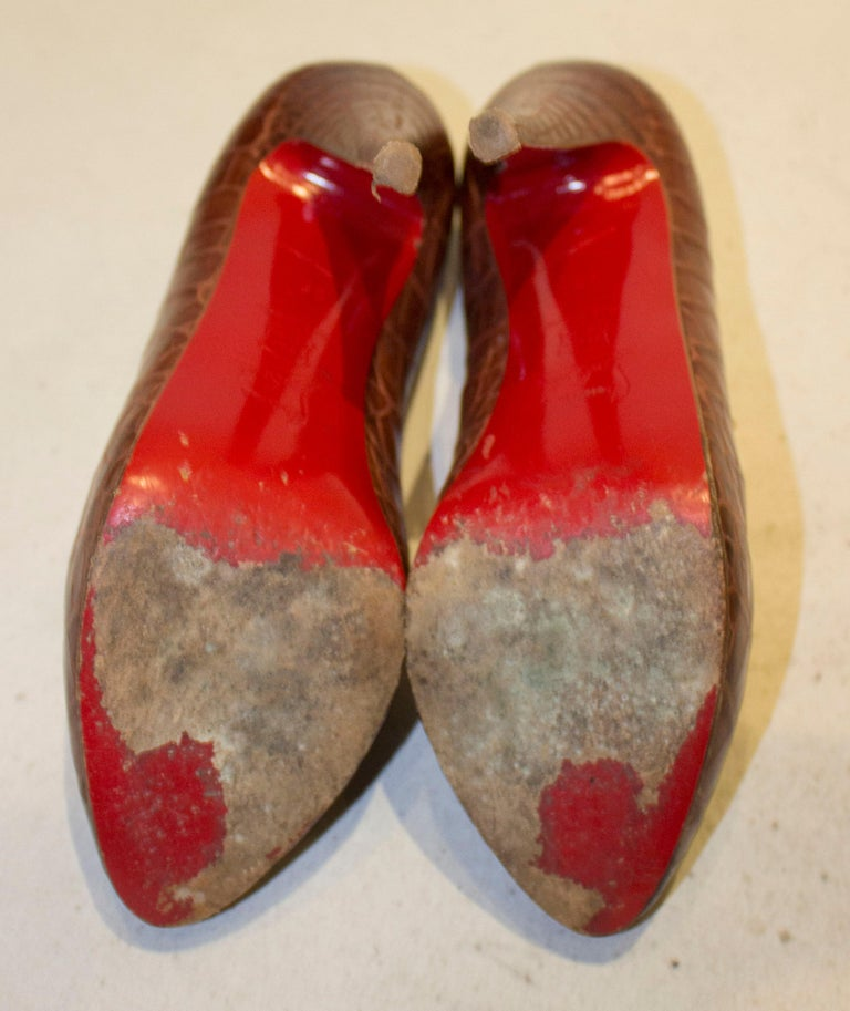 Christian Louboutin Leather Croc Effect Shoes For Sale 3