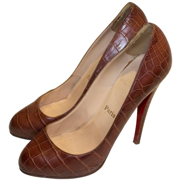 Christian Louboutin Leather Croc Effect Shoes For Sale