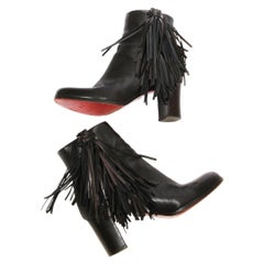 Christian Louboutin Leather Fringe Bootie