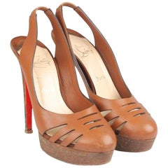 Christian Louboutin Leather Laser Cut Slingback Pumps Shoes