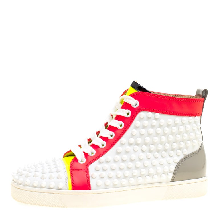 new product c6e3d 36e21 Christian Louboutin Leather Louis Spikes Lace Up High Top Sneakers Size 36.5