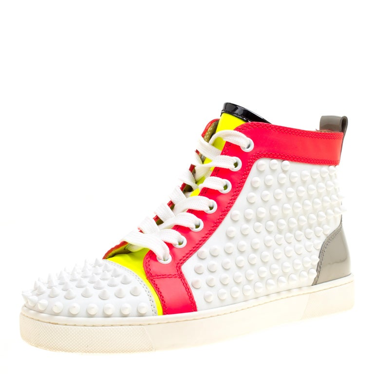 8a4c7551e121 Christian Louboutin Leather Louis Spikes Lace Up High Top Sneakers Size  36.5 For Sale