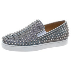 Christian Louboutin Leather Roller Boat Spiked Slip On Sneakers   Size 40