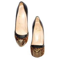 Christian Louboutin Leopard Print High Heels with Gold Studded Toes
