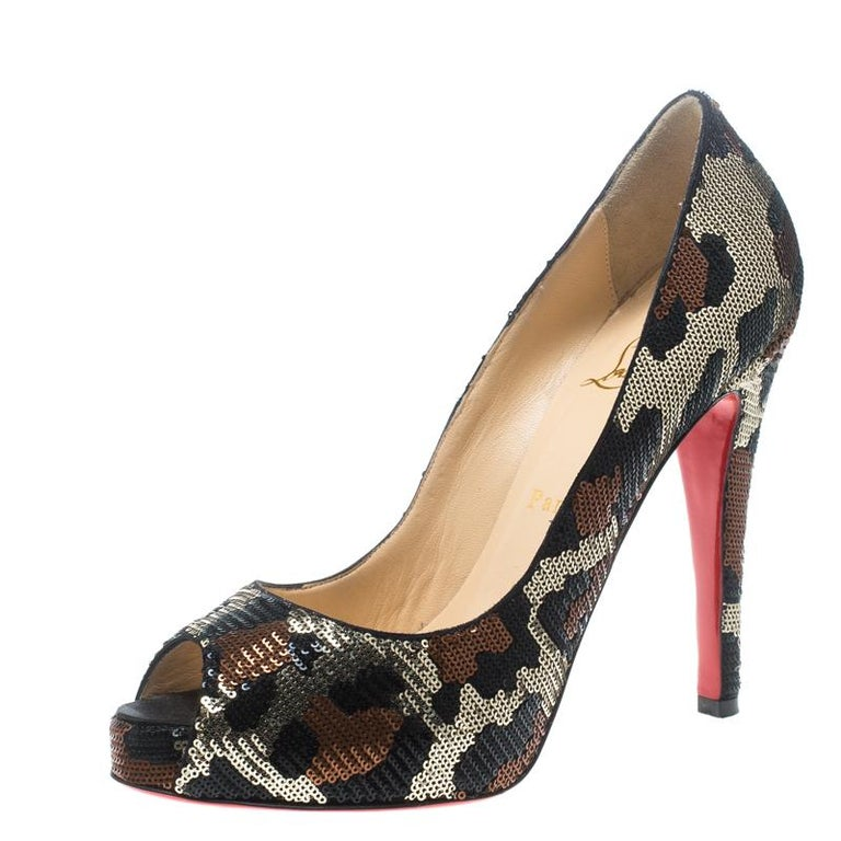 46daa793d8c9 Christian Louboutin Leopard Print Sequin Paillettes Very Prive Peep Toe  Pumps Si For Sale