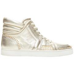 CHRISTIAN LOUBOUTIN light metallic gold spike studded high top sneaker EU43.5