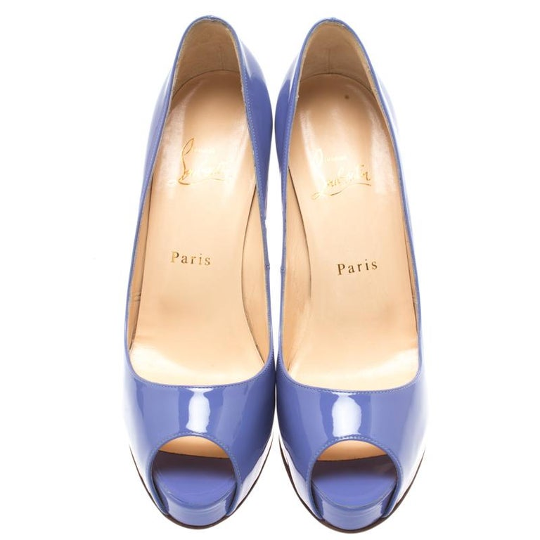 separation shoes ac9a3 7e593 Christian Louboutin Lilac Patent Leather New Very Prive Peep Toe Pumps Size  38