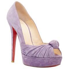 CHRISTIAN LOUBOUTIN lilac purple suede knot front peep toe platform pump EU38