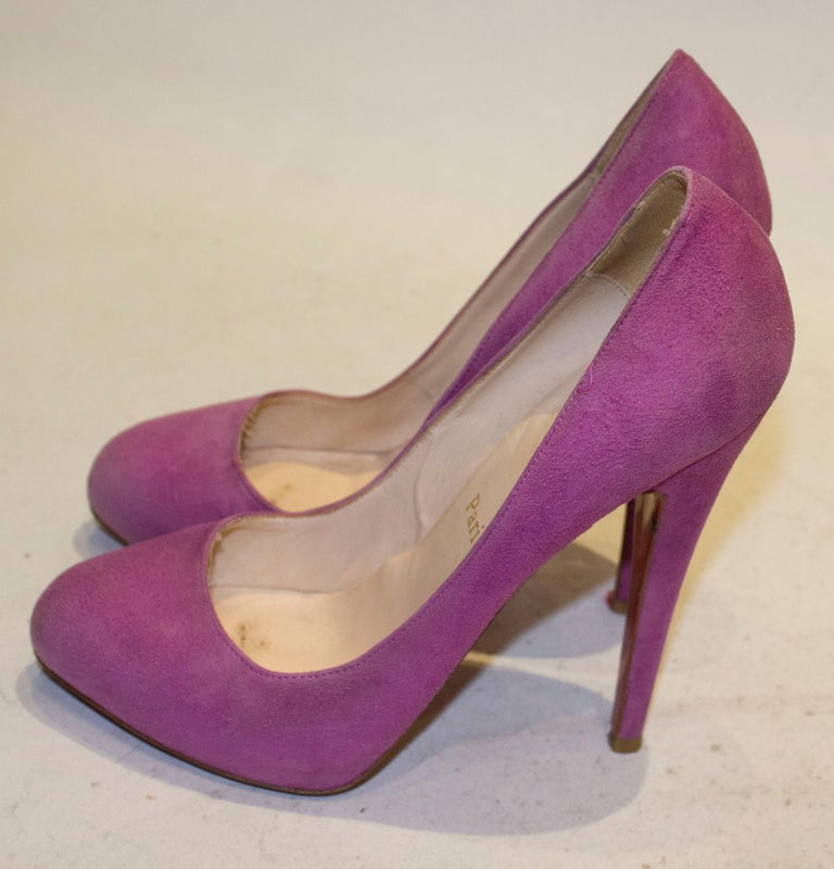 Women's Christian Louboutin Lilac Suede Heels For Sale