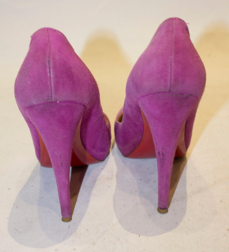 Christian Louboutin Lilac Suede Heels For Sale 1