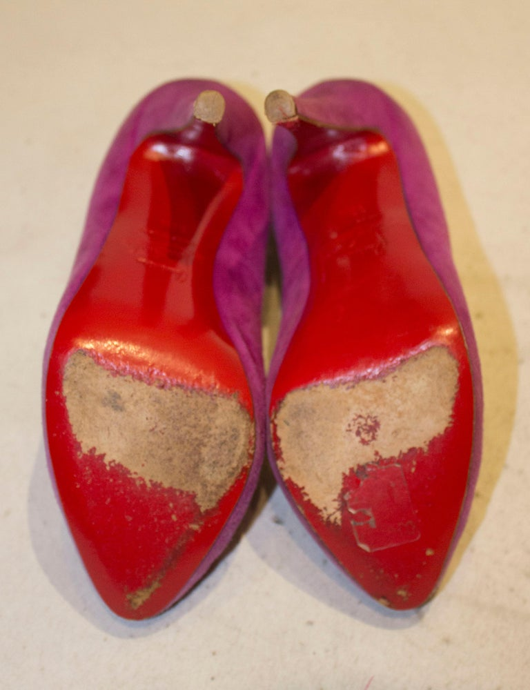 Christian Louboutin Lilac Suede Heels For Sale 2