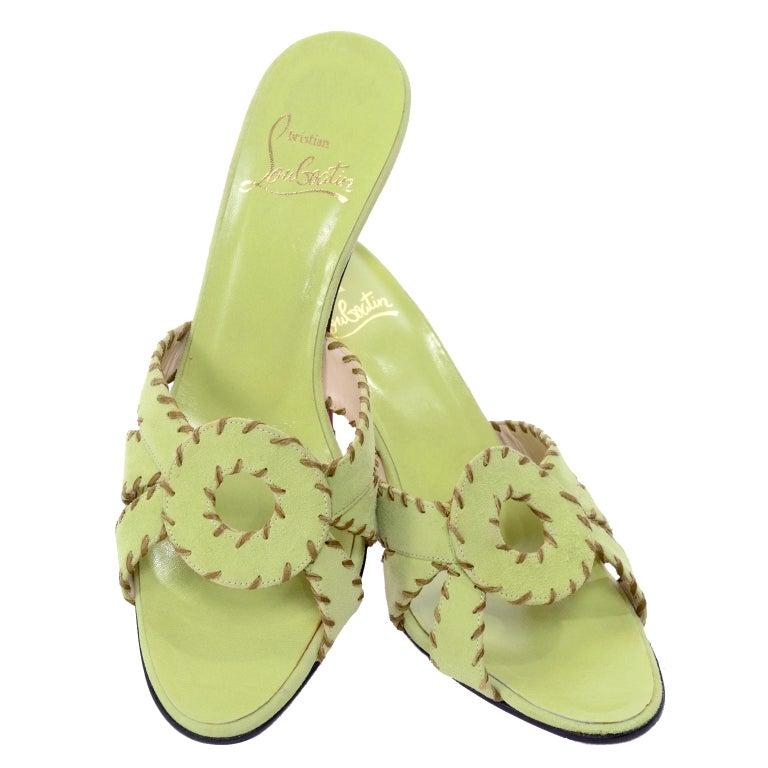 1ec48711089 Christian Louboutin Lime Green Open Toe Sandal Shoes w/ Heels in Size 38