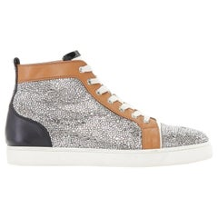 CHRISTIAN LOUBOUTIN Louis flat silver strass crystal high top sneakers EU42 US9