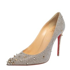Christian Louboutin  Lurex Fabric Degraspike Pointed Toe Pumps Size 38