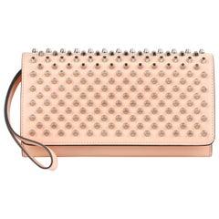 "CHRISTIAN LOUBOUTIN ""Macaron"" Peach Pink Flat Studded Flat Front Wristlet Wallet"