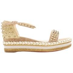 CHRISTIAN LOUBOUTIN Madmonica 60 gold embroidered studded platform sandal EU38
