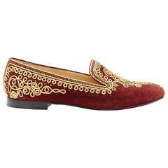 CHRISTIAN LOUBOUTIN Mamounia burgundy suede gold rope embroidery flats EU37