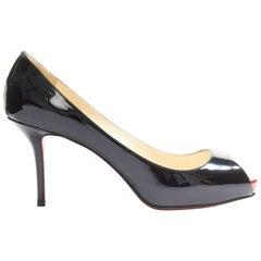 CHRISTIAN LOUBOUTIN Mater Claude 85 black patent red platform peep toe pump EU39