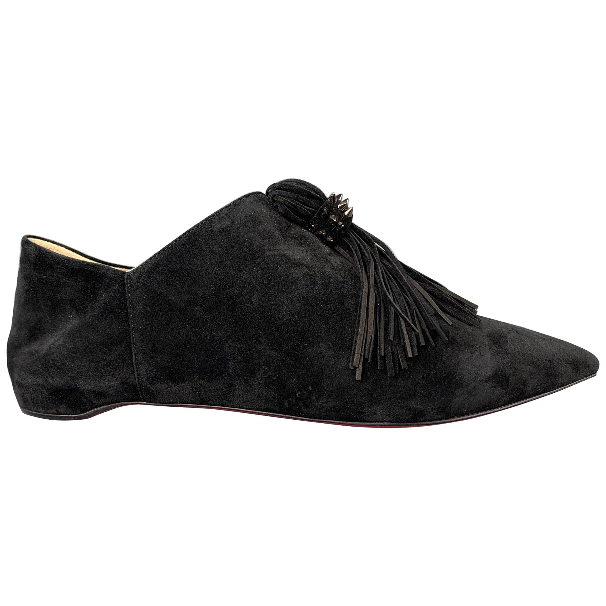 CHRISTIAN LOUBOUTIN Medinana Collapsible Size 8 Black Suede Tassel Flats