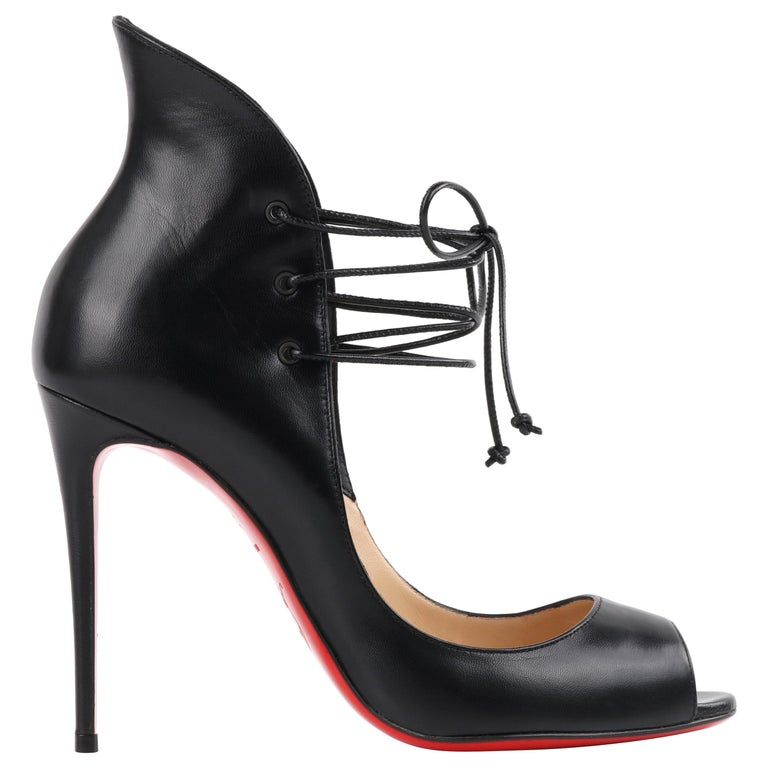 "CHRISTIAN LOUBOUTIN ""Megavamp 100"" Black Leather Peep Toe Stiletto Pumps Heels  For Sale"