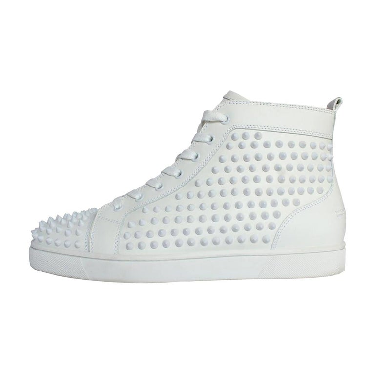 on sale 622f6 279cc Christian Louboutin Mens White / Gold Sneakers 43 1/2