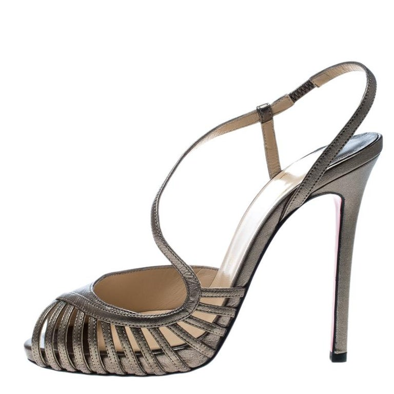 05a18052b9d Christian Louboutin Metallic Bronze Leather Scoubridou Asymmetric Peep Toe  For Sale at 1stdibs