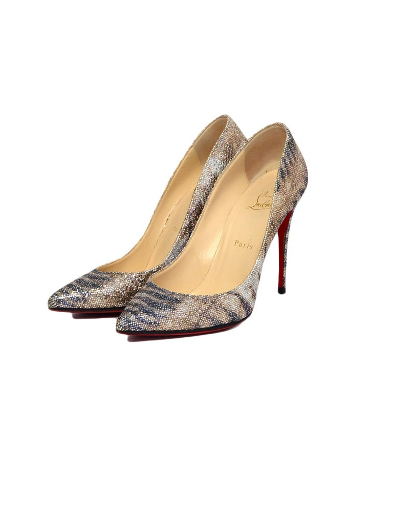 info for 84939 29b9d Christian Louboutin Metallic Glitter Sirene Pigalle Follies Pumps sz 39.5