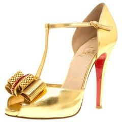 Christian Louboutin Metallic Gold Archidisco T Strap Peep Toe Sandals Size 37