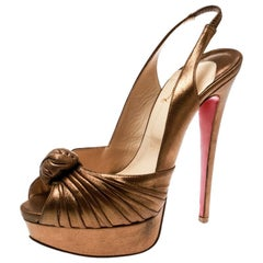 Christian Louboutin Metallic Gold Jenny Knotted Platform Sandals Size 36.5
