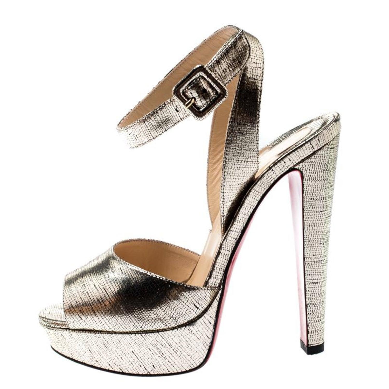 quality design 0a7e6 e37c5 Christian Louboutin Metallic Gold Lame Louloudancing Platform Sandals Size  37.5