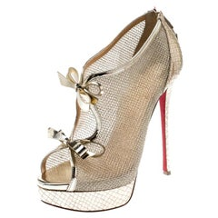 Christian Louboutin Metallic Gold Leather And  Open Toe Ankle Booties Size 39