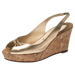 Christian Louboutin Metallic Gold Leather Slingback Wedge Sandals Size 41.5