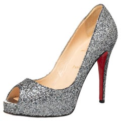 Christian Louboutin Metallic Grey Glitter Very Prive Peep Toe Pumps Size 40